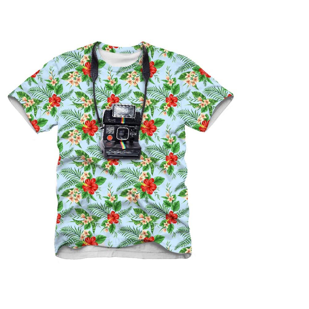 Mens Polaroid Tourist Graphic T-Shirt - Blue L