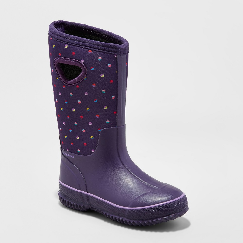 Girls Polly Neoprene Winter Boots - Cat & Jack Purple 4