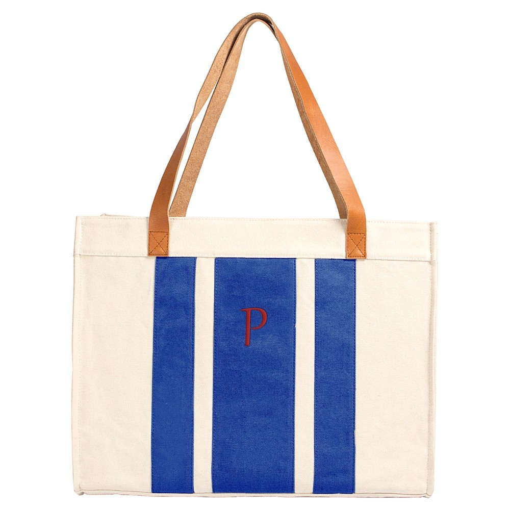Cathys Concepts Womens Monogram Tote Handbag - Blue Stripe P, Blue - P