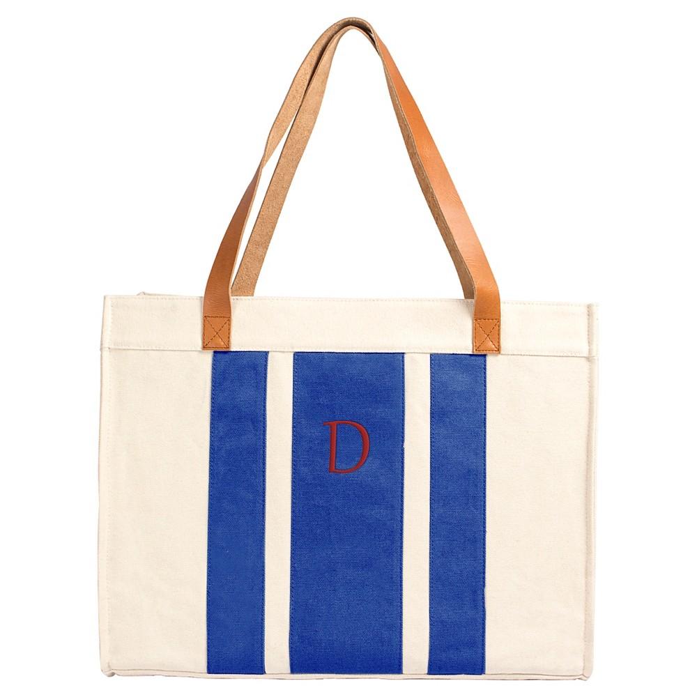 Cathys Concepts Womens Monogram Tote Handbag - Blue Stripe D, Blue - D