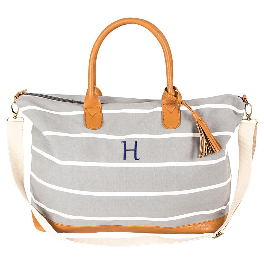 Cathys Concepts Womens Monogram Weekender Bag - Gray Stripe H, Gray - H