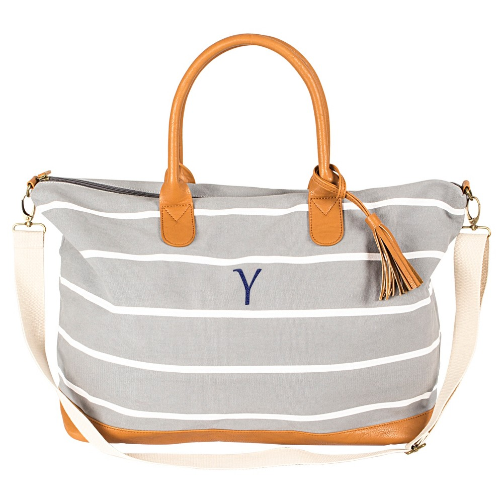 Cathys Concepts Womens Monogram Weekender Bag - Gray Stripe Y, Gray - Y