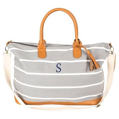 Cathy's Concepts® Women's Monogram Weekender Bag - Gray Stripe S