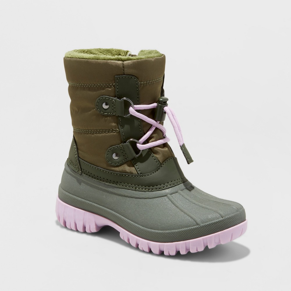 Girls' Paisley Short Bungee Winter Boots - Cat & Jack Green 6