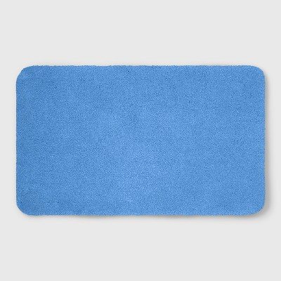 Perfectly Soft Nylon Solid Bath Rug Placid Blue