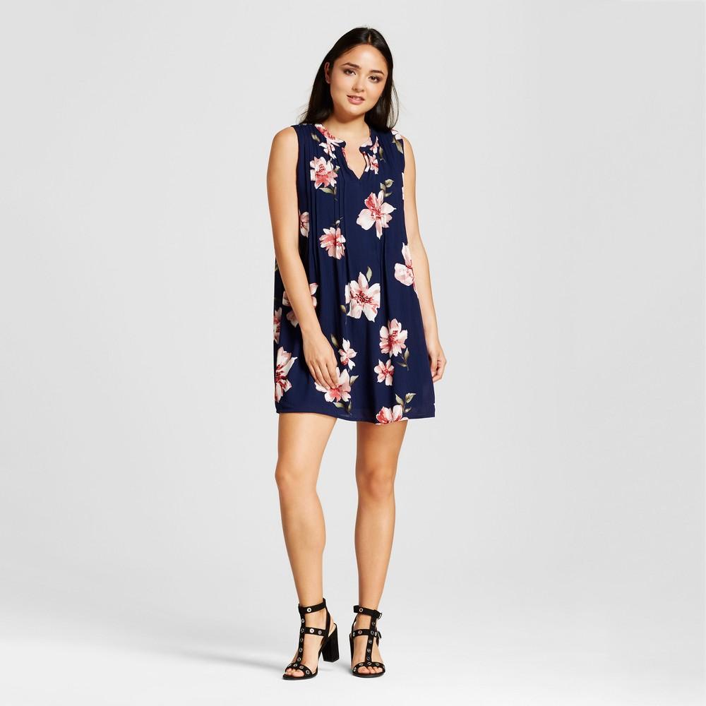 Womens Floral Split Neck Swing Dress - Éclair - Black XL, Blue