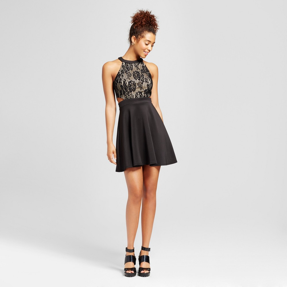 Womens Lace Side Cut Out Halter Dress - Lots of Love by Speechless (Juniors) Black 3