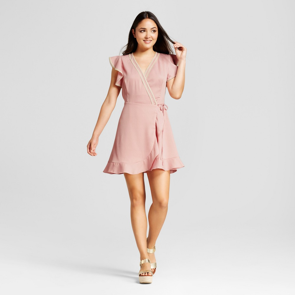 Womens Lace Trim Ruffle Sleeve Wrap Dress - Éclair - Rose L, Pink