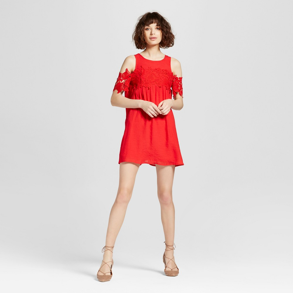 Womens Crochet Applique Cold Shoulder Dress - Lots Of Love By Speechless (Juniors) Red M