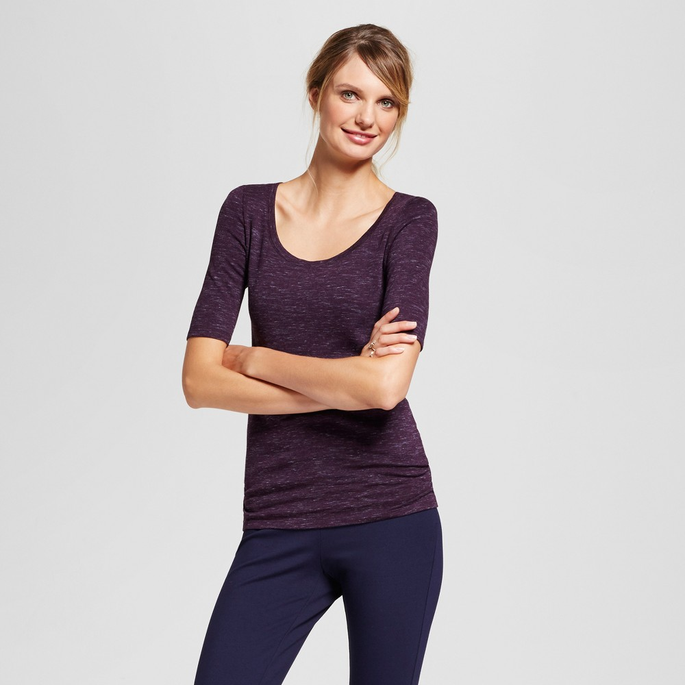 Womens Heathered Fitted Elbow T-Shirt - A New Day Purple XL