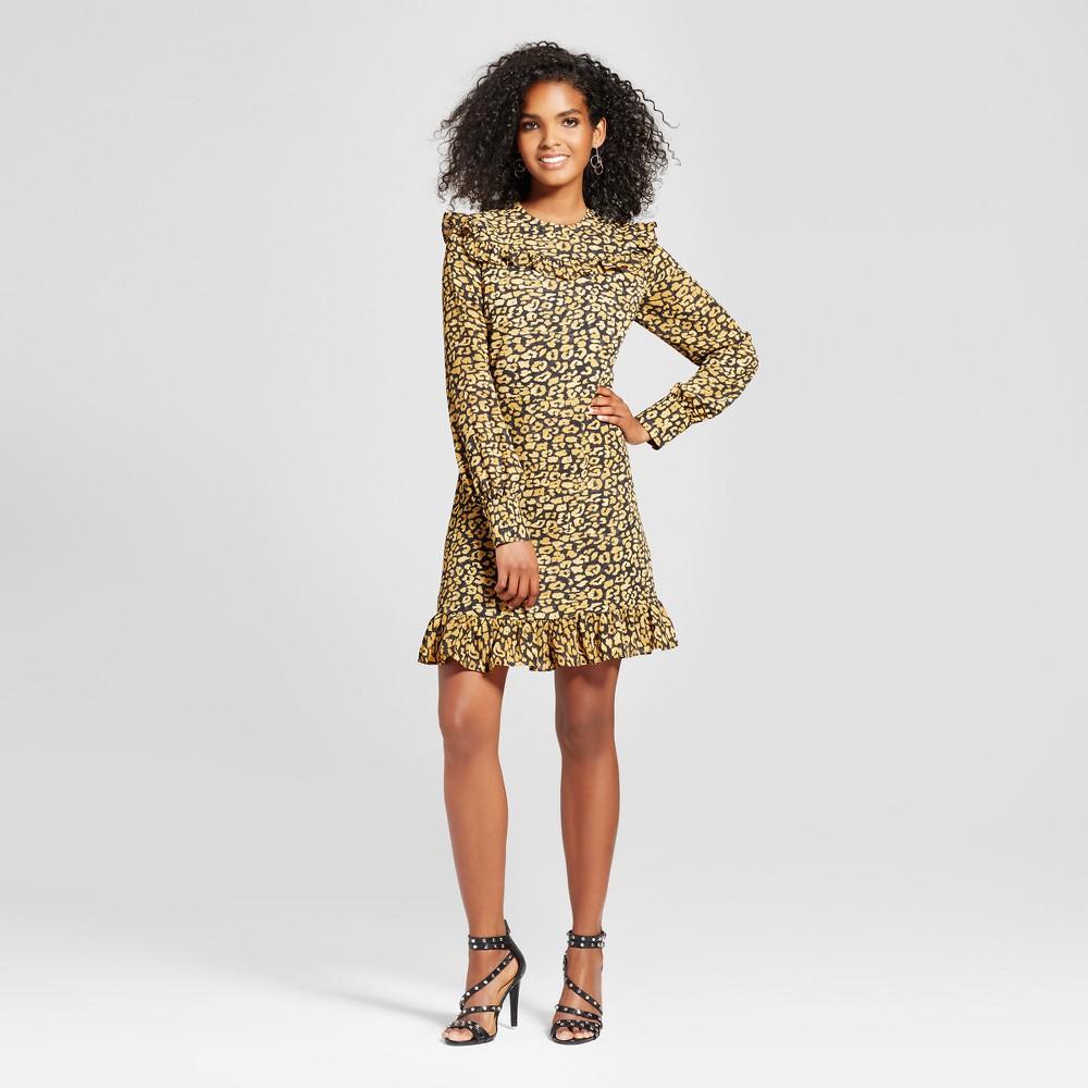 Womens Printed Mini Dress- Who What Wear Yellow Cheetah Xxl