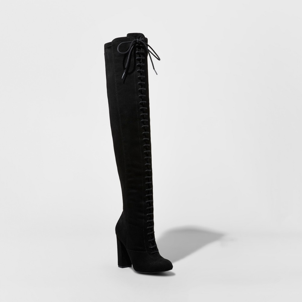 Women's Joslyn Heeled Lace-Up Over the Knee Boots - Mossimo Black 8.5