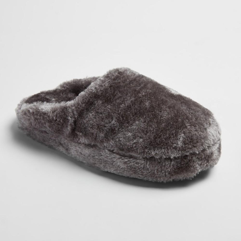 Womens Cordette Plush Scuff Slippers - Mossimo Supply Co. Gray L(9-10), Size: L (9-10)