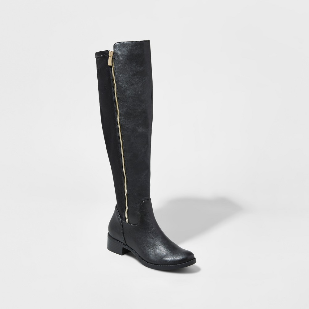 Womens Polly 50/50 Side Zip Tall Boots - Mossimo Black 8