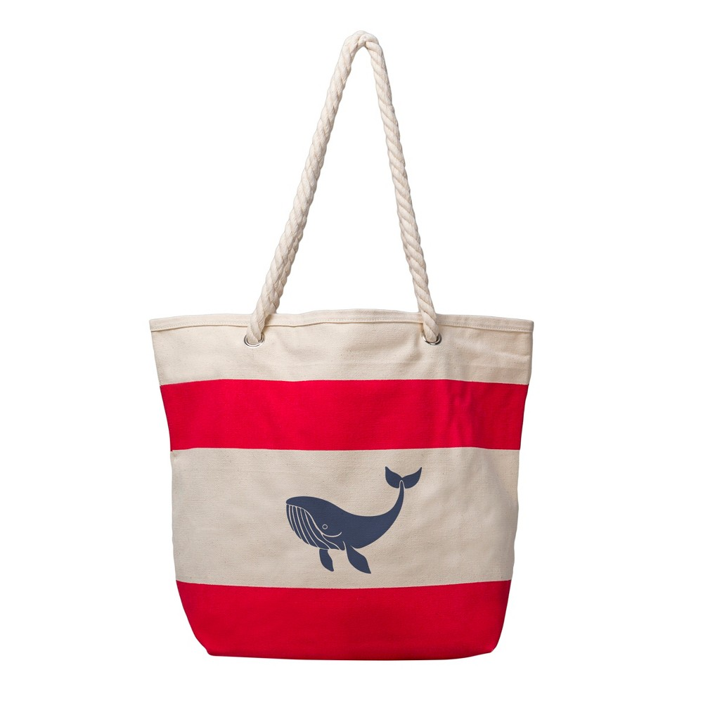 Womens Whale Striped Canvas Tote - Cathys Concepts, Red
