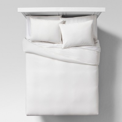 White Block Matelasse Duvet Cover Set (Full/Queen)- Project 62™