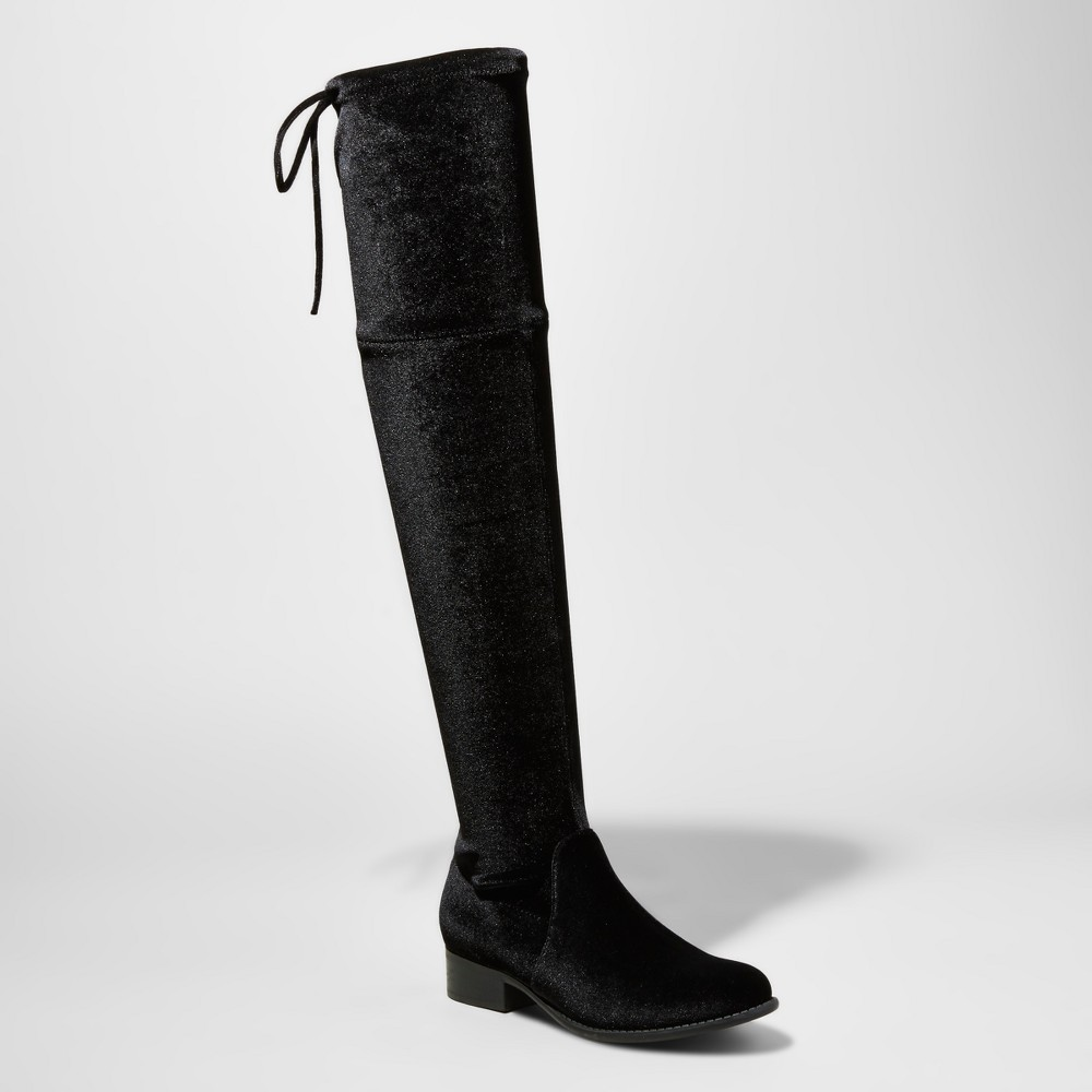 Womens Sidney Velvet Over the Knee Boots - A New Day Black 8