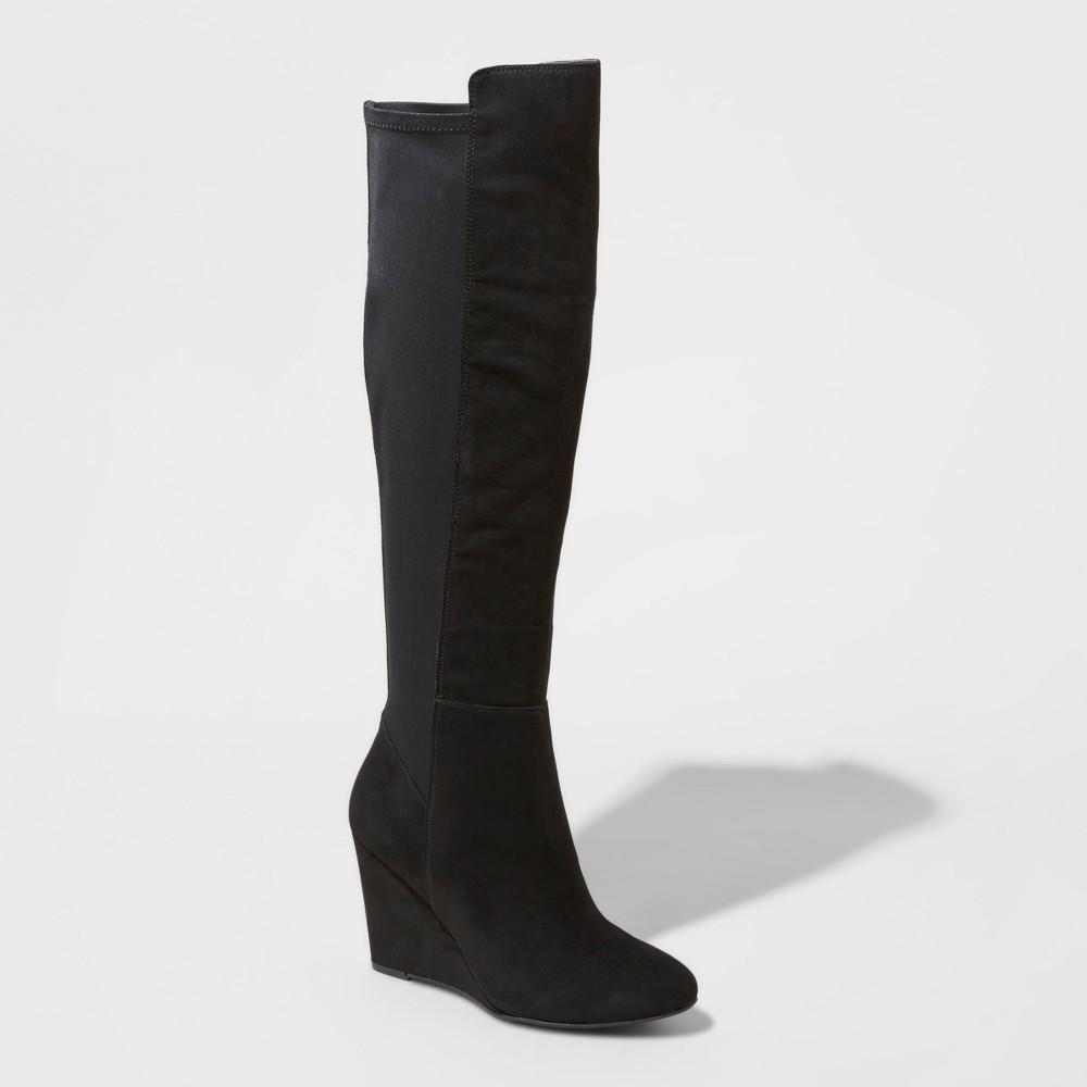 Womens Lorena Wedge Tall Boots - Mossimo Black 5.5