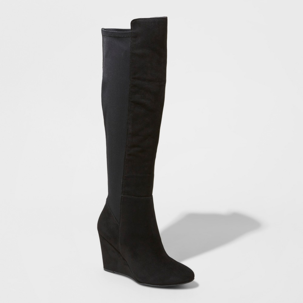 Womens Lorena Wedge Tall Boots - Mossimo Black 6