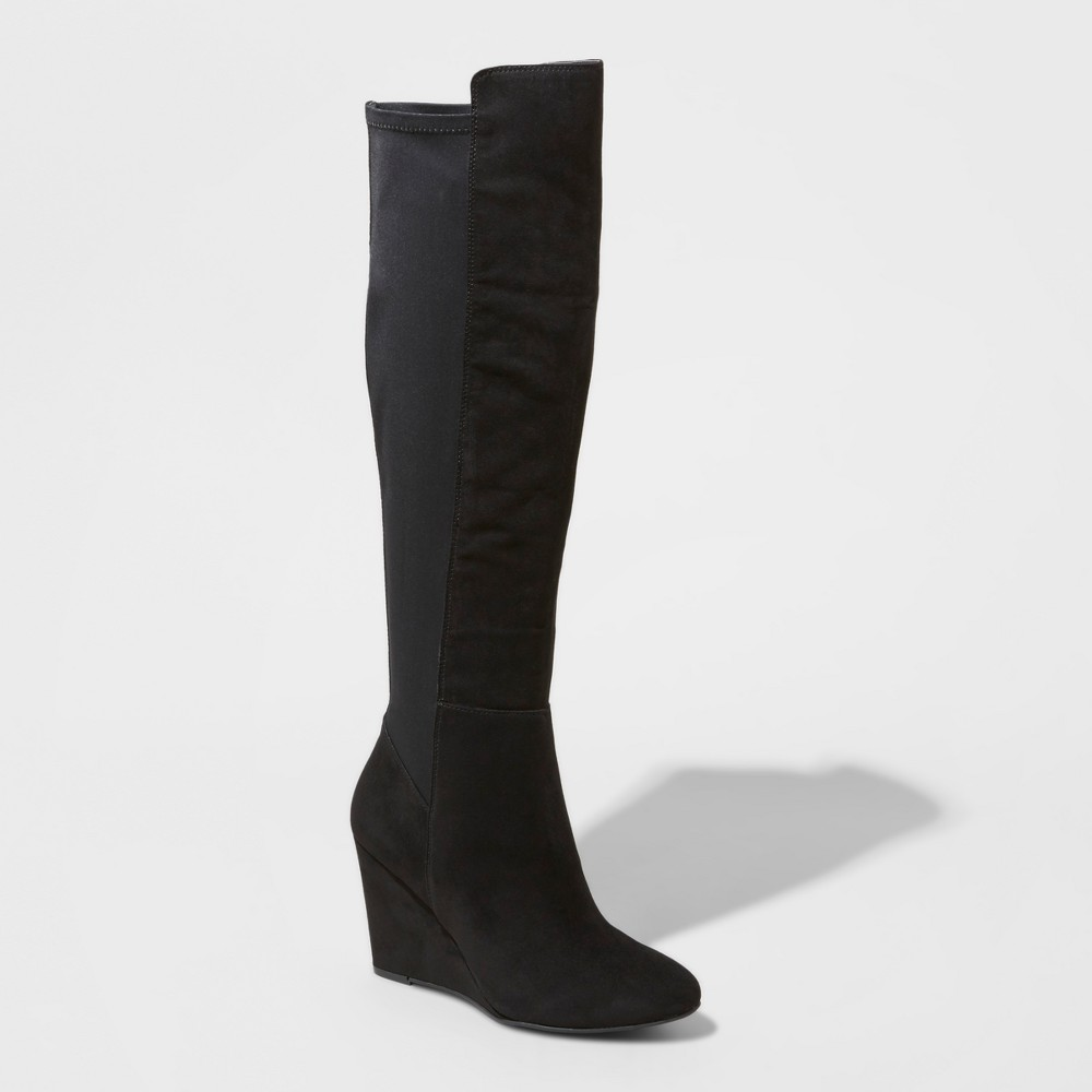 Womens Lorena Wedge Tall Boots - Mossimo Black 8