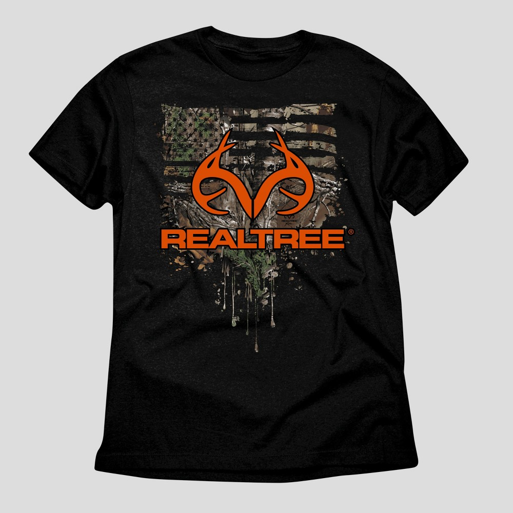 Mens Realtree Flag and Antlers Graphic T-Shirt - Black Xxl