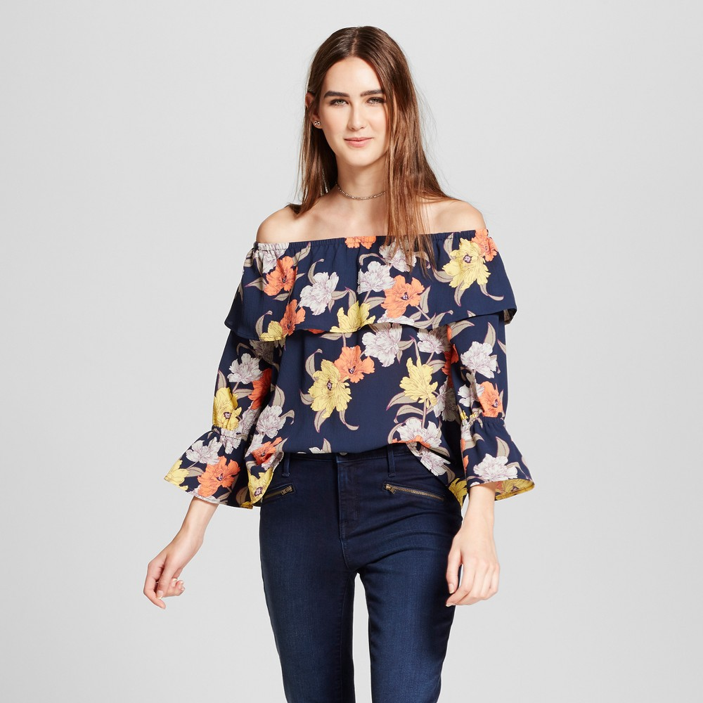Womens Floral Long Sleeve Off the Shoulder Top - Éclair - Navy Floral XL, Blue