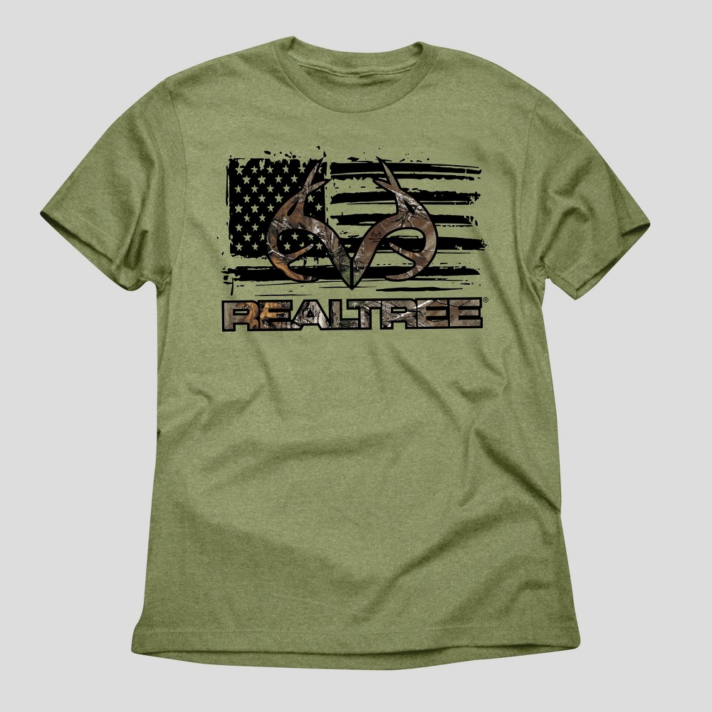 Mens Realtree American Pride Graphic T-Shirt - Green Heather XL