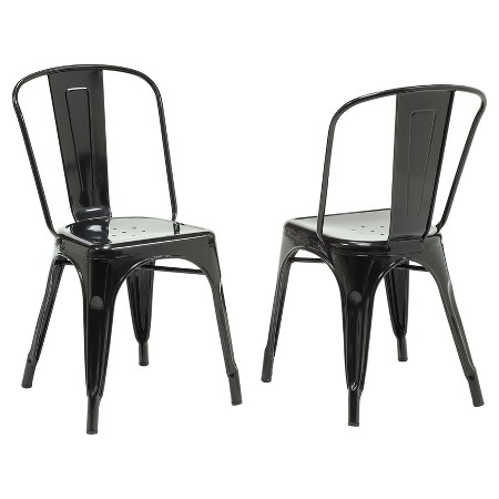 Dining Chair - 2 Piece - Black Glossy Metal - EveryRoom