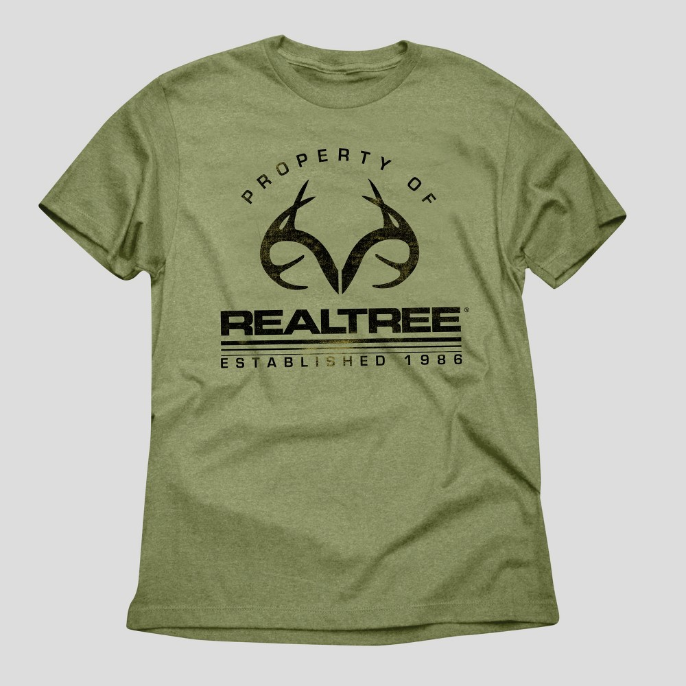 Mens Realtree Property of Realtree Graphic T-Shirt - Green Heather S