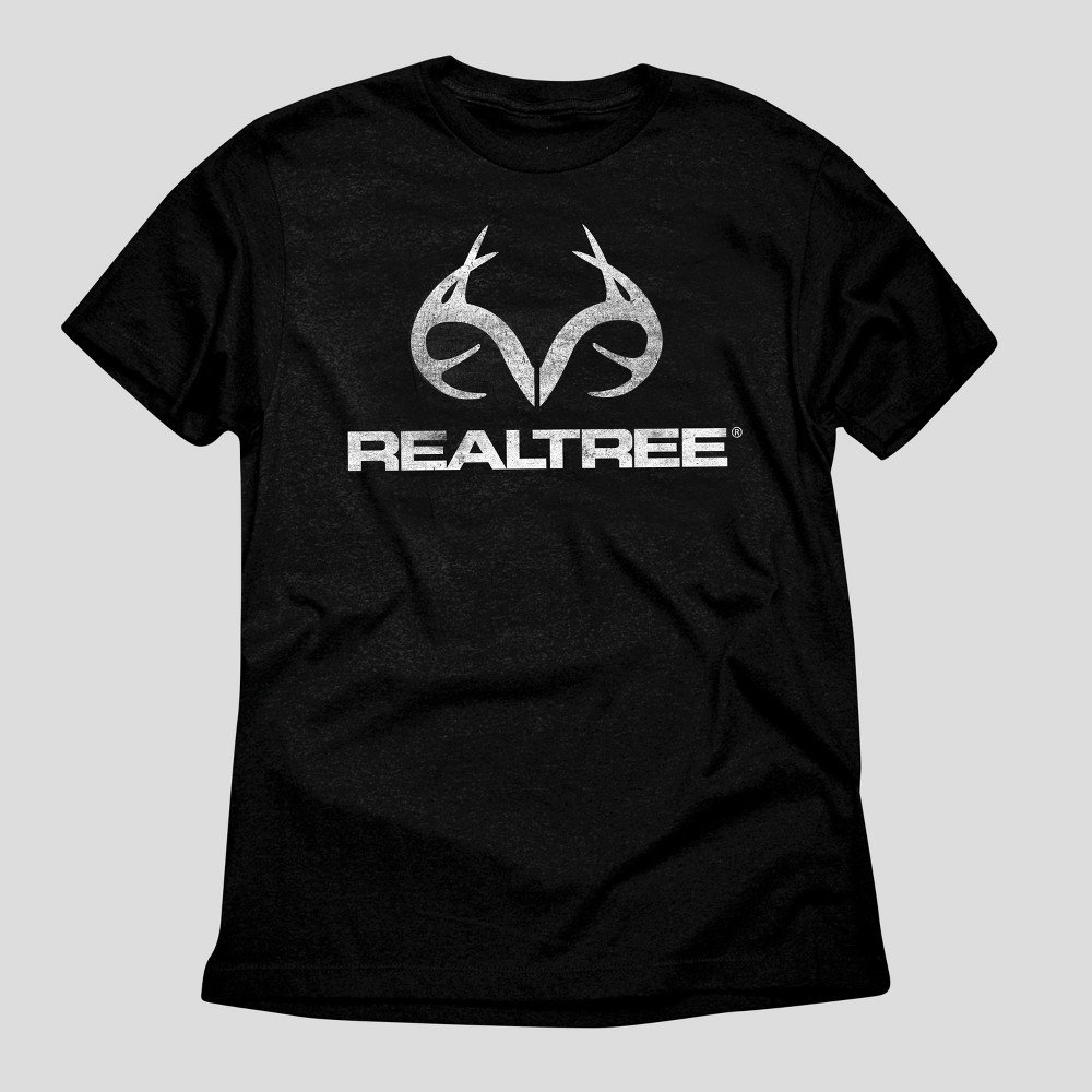 Mens Realtree White Logo Graphic T-Shirt - Black M
