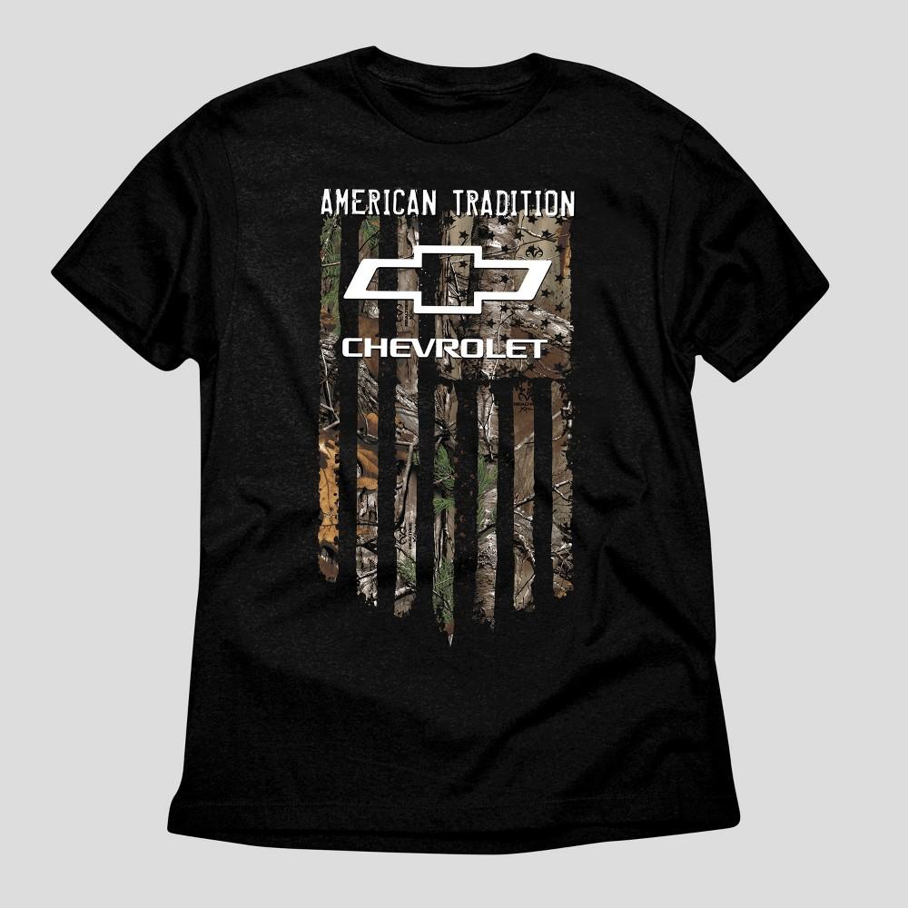 Mens Chevrolet Realtree Chevy Flag Graphic T-Shirt - Black S
