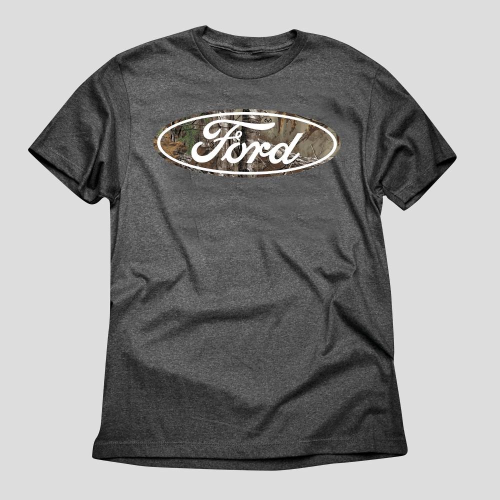 Mens Realtree Ford Logo Graphic T-Shirt - Black Xxl, Gray