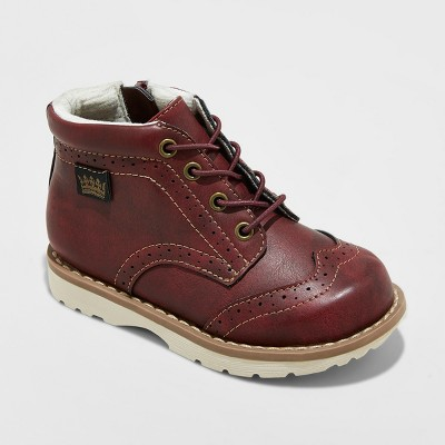 Toddler Boys' Brayan Wingtip Fashion Boots - Cat & Jack™ Burgundy 7