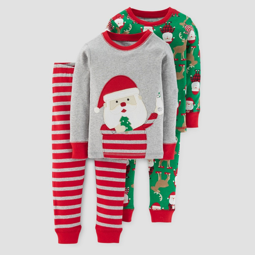 Boys 4 Piece Long Sleeve Cotton Santa Milk & Cookie Stripes Pajama Set - Just One You Made by Carters Gray 7