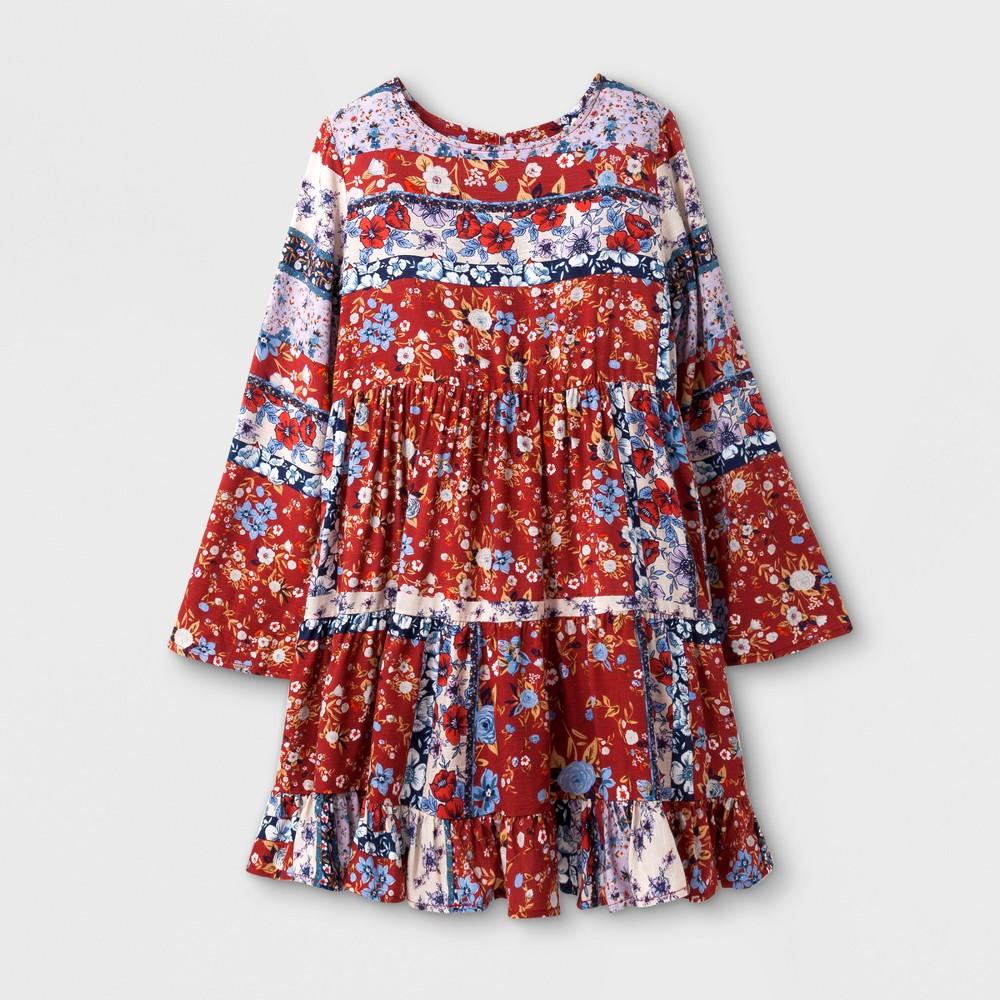 Girls Tiered Ruffle Dress - Art Class Red/Blue/Tan XS