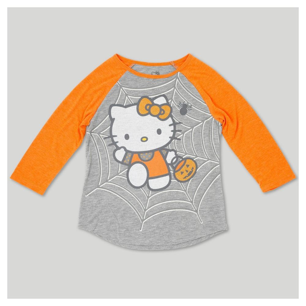 Girls Hello Kitty Halloween 3/4 Sleeve Raglan T- Shirt - Heather Gray S