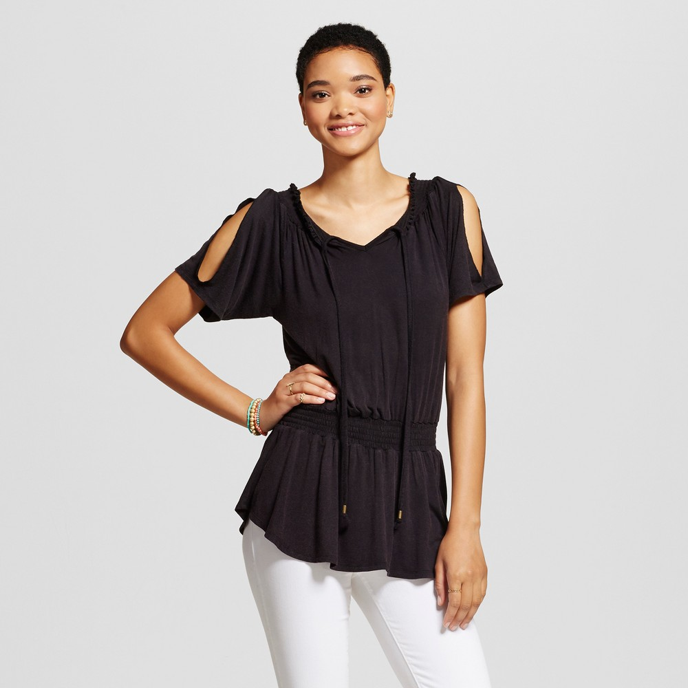 Womens Cold Shoulder Peasant Tunic Top - Self Esteem (Juniors) Black M