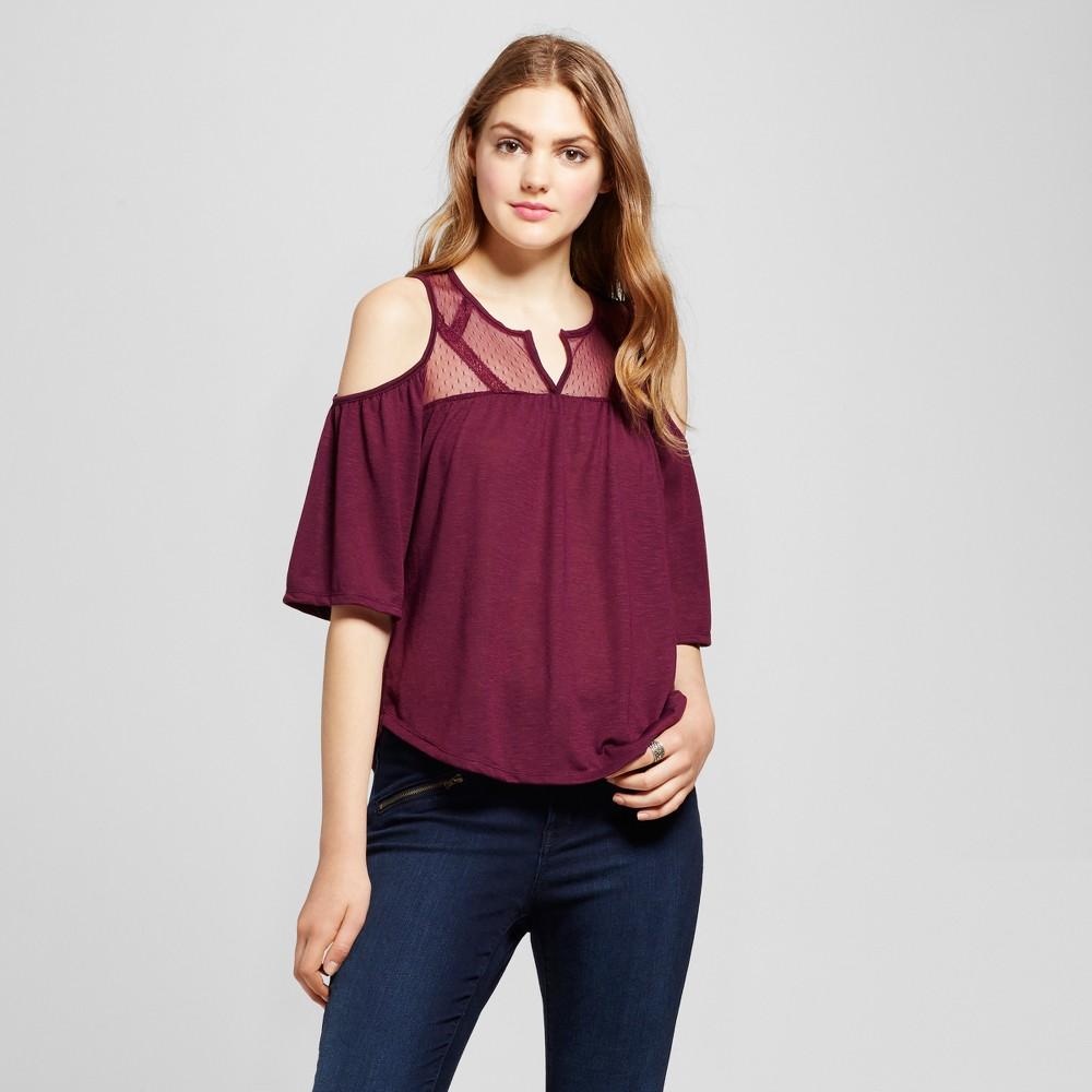 Womens Mesh Dot Cold Shoulder Top - Self Esteem (Juniors) Purple XL
