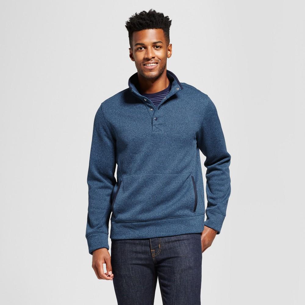 Mens Standard Fit Sweater Fleece Snap Pullover - Goodfellow & Co Navy (Blue) S