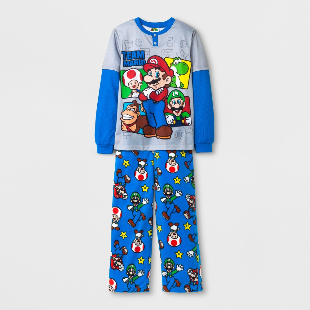 Boys Nintendo Of America Mario Pajama Set - Gray XS