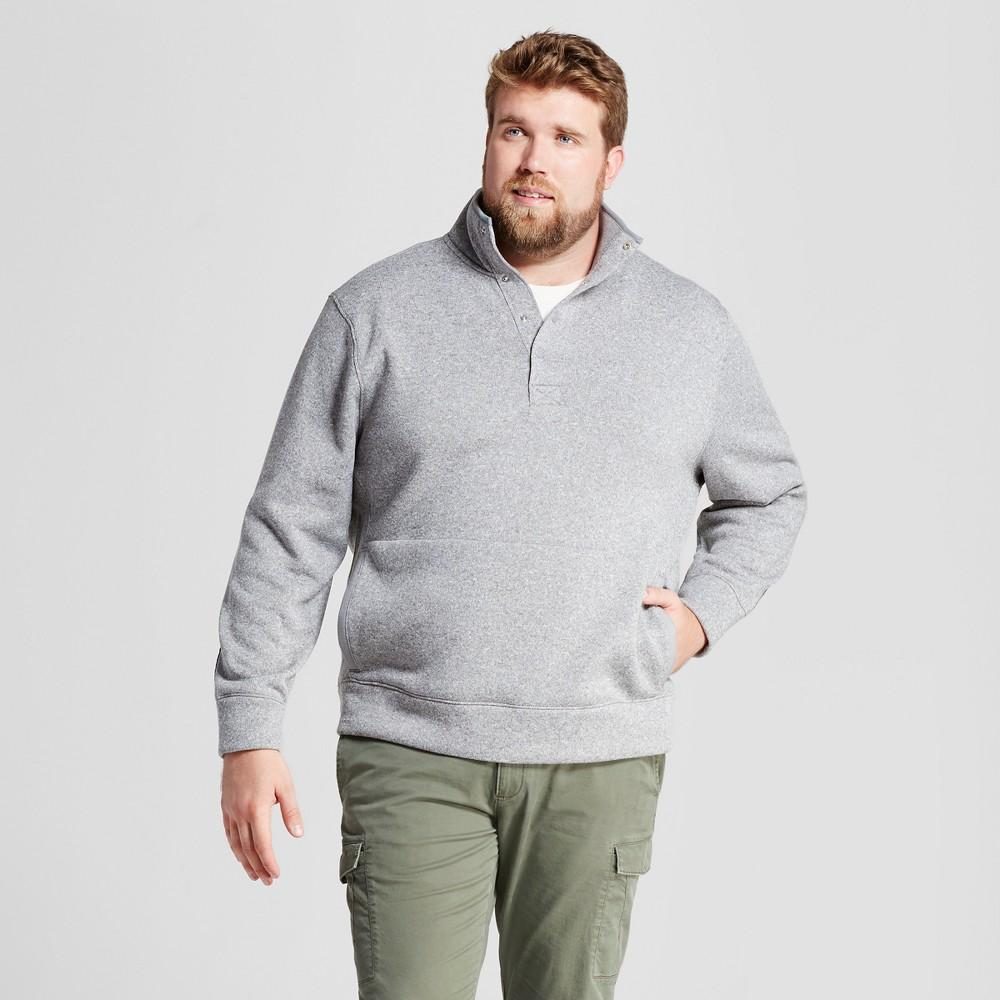 Mens Big & Tall Standard Fit Sweater Fleece Snap Pullover - Goodfellow & Co Light Gray LT