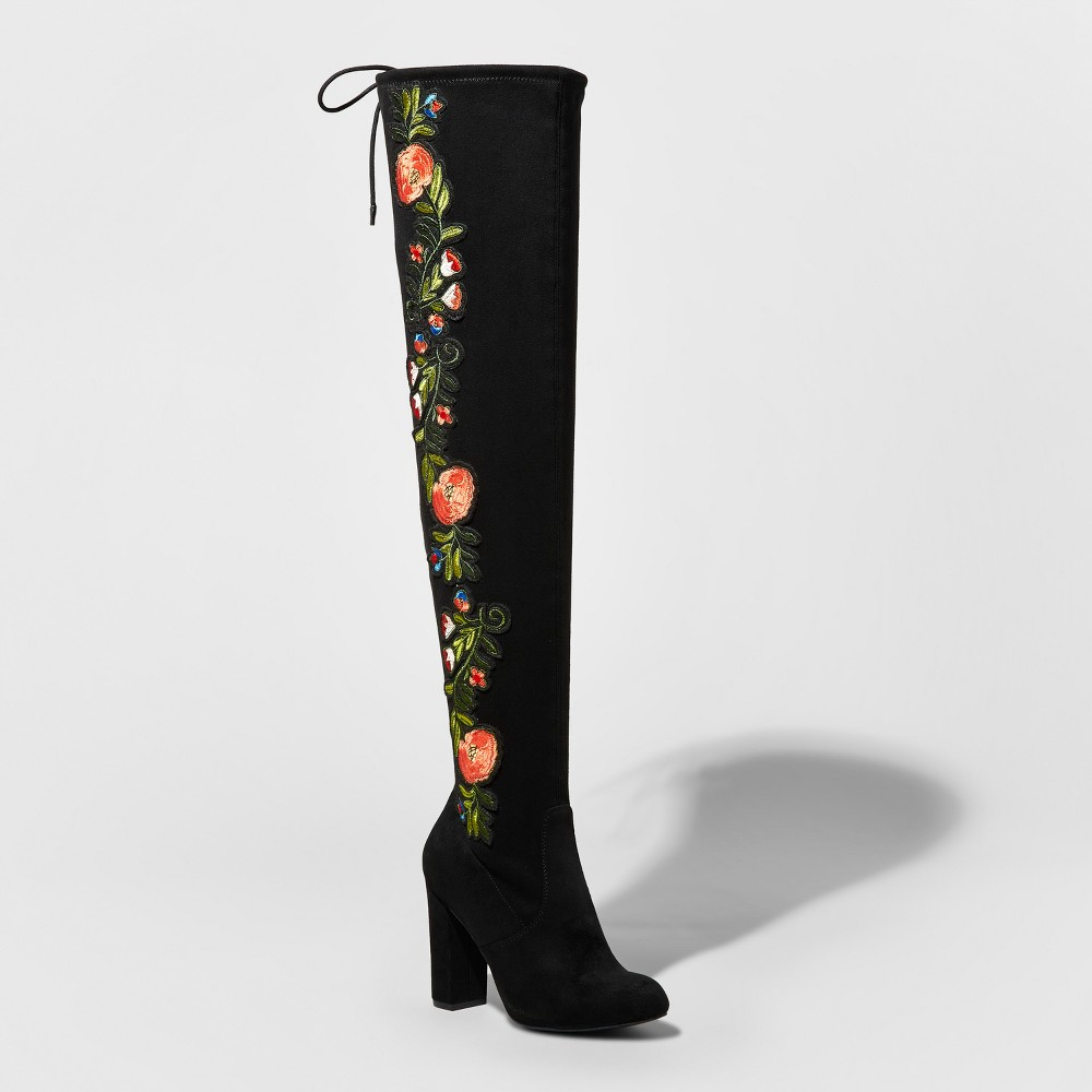 Womens Dylan Embroidered Heeled Over the Knee Boots - Merona 6, Multicolored