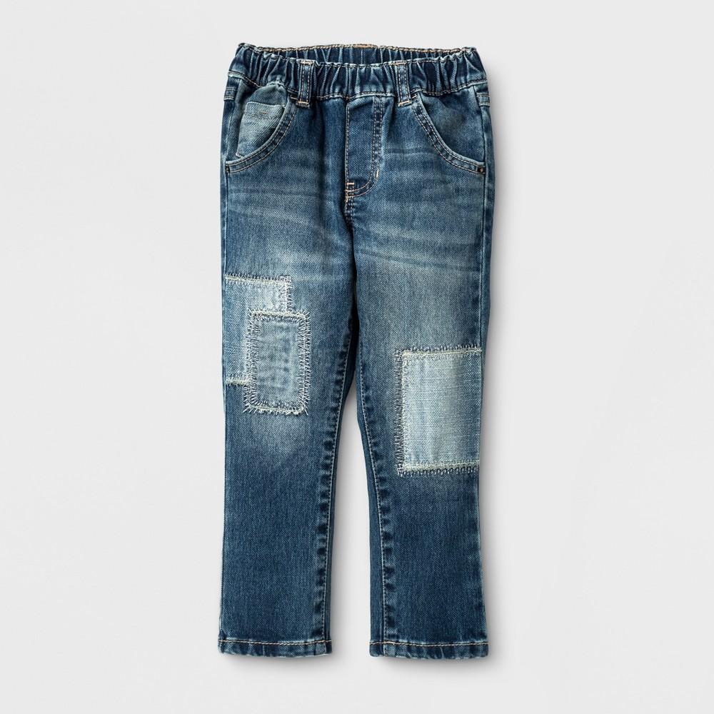 Toddler Boys Pull-on Skinny Jean Genuine Kids from OshKosh - Medium Patched 3T, Blue