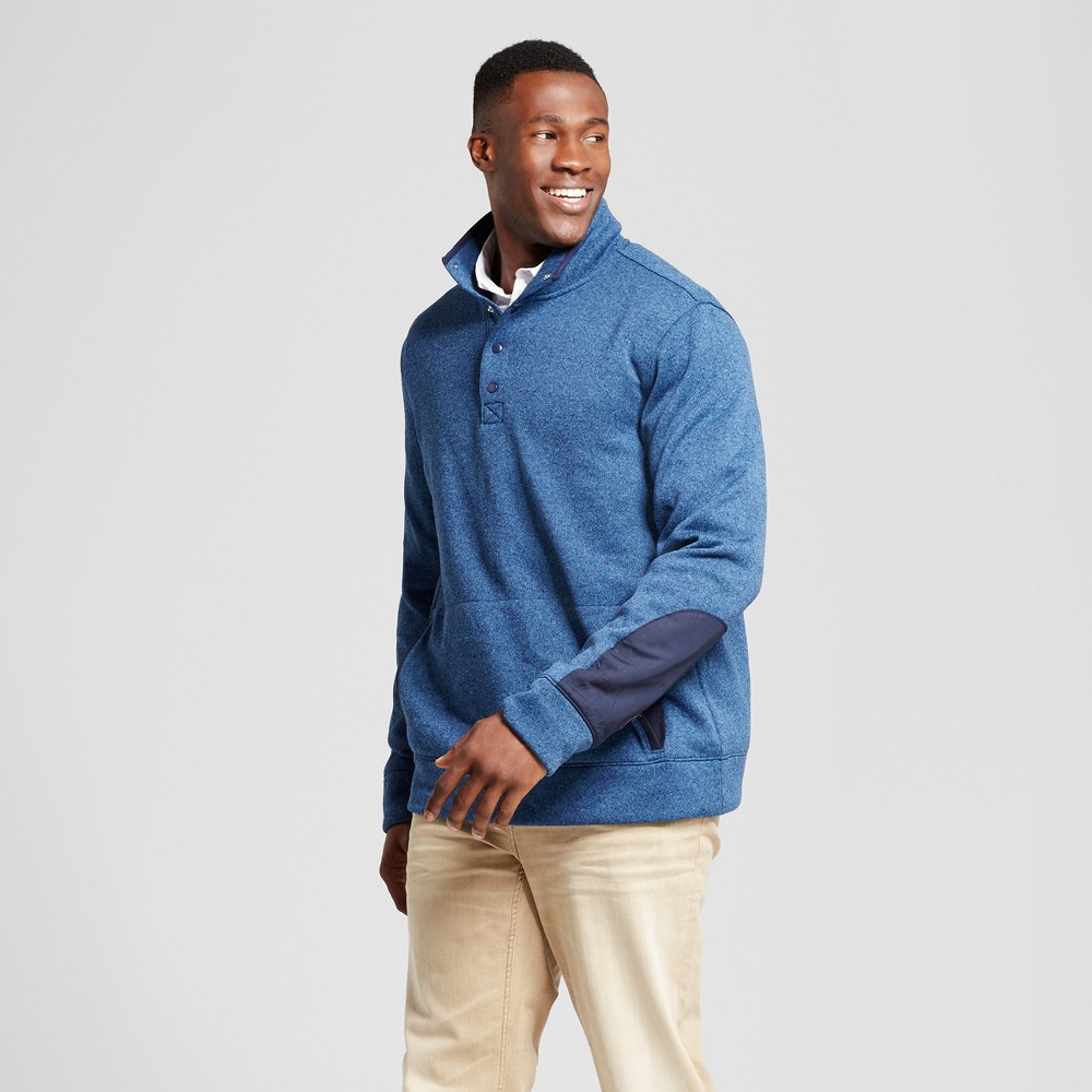 Mens Big & Tall Standard Fit Sweater Fleece Snap Pullover - Goodfellow & Co Navy (Blue) 5XB
