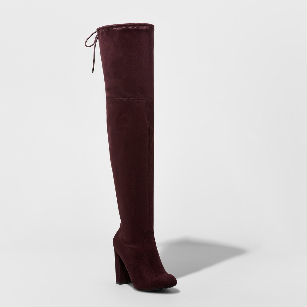 Womens Penelope Heeled Over the Knee Boots - A New Day Burgundy (Red) 11