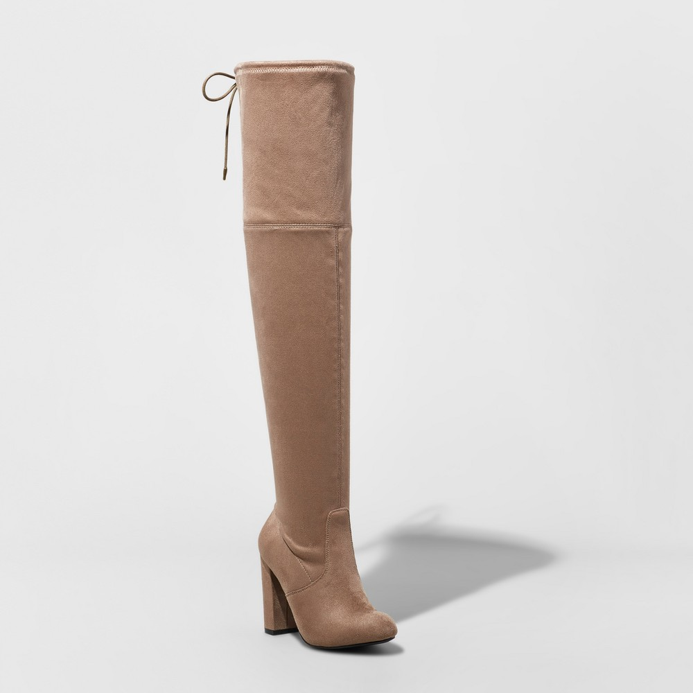 Womens Penelope Heeled Over the Knee Boots - A New Day Light Taupe 5.5
