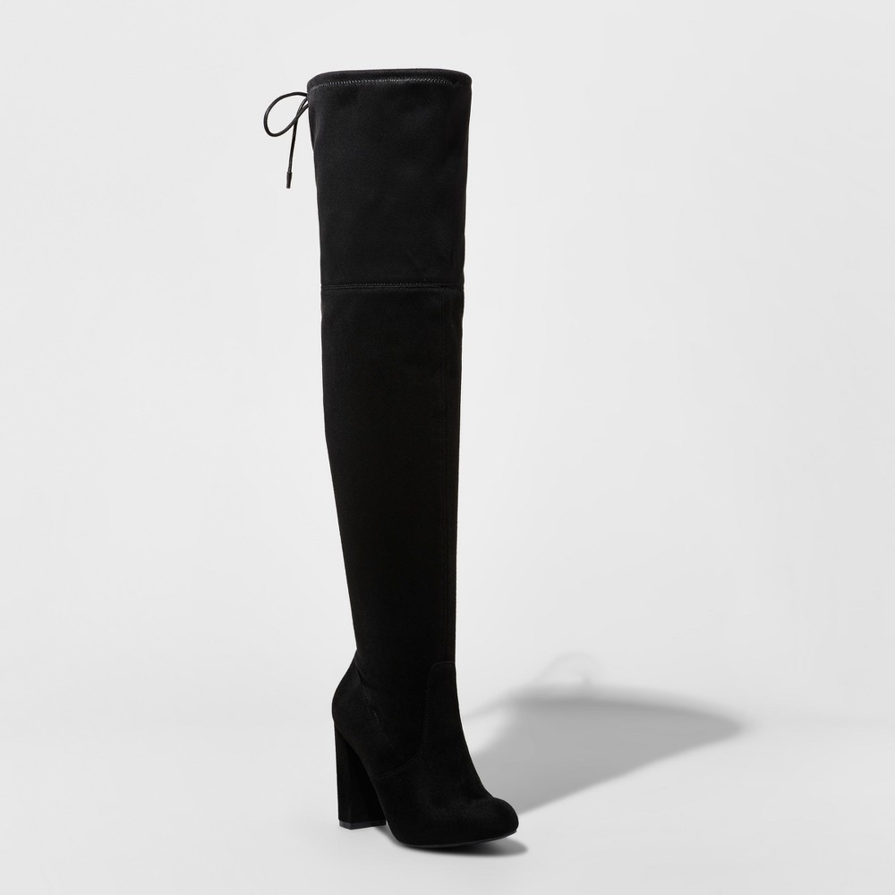 Womens Penelope Heeled Over the Knee Boots - A New Day Black 7
