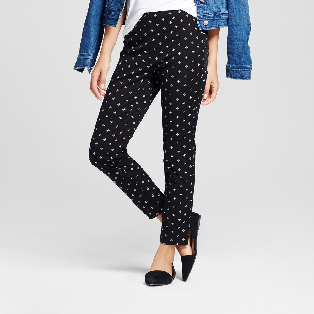 Womens Printed Skinny High Rise Ankle Pants - A New Day Black 12