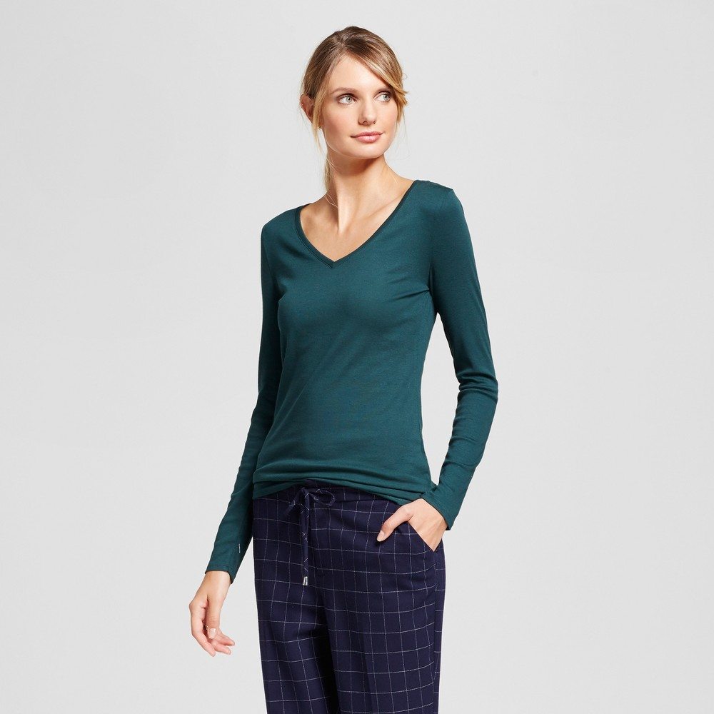 Womens Fitted Long Sleeve T-Shirt - A New Day Dark Green XL