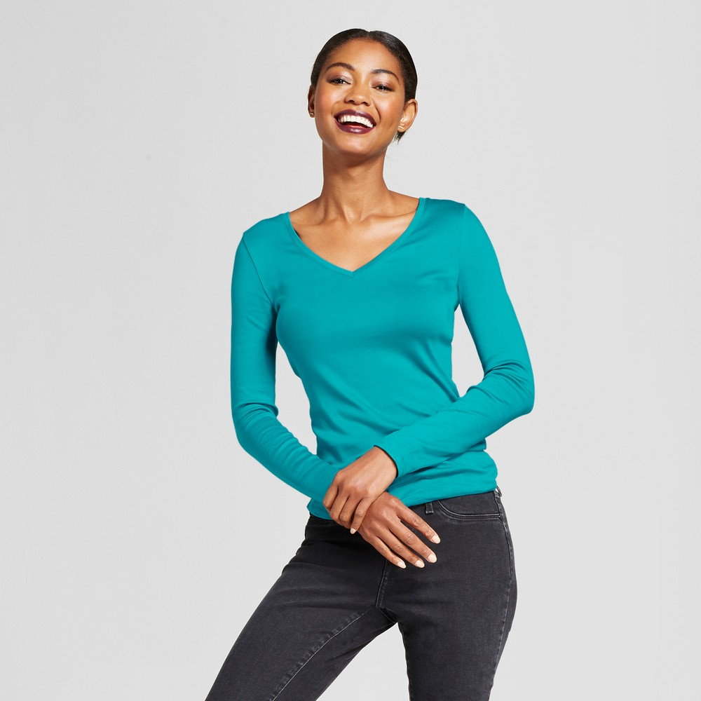 Womens Fitted Long Sleeve T-Shirt - A New Day Turquoise XL